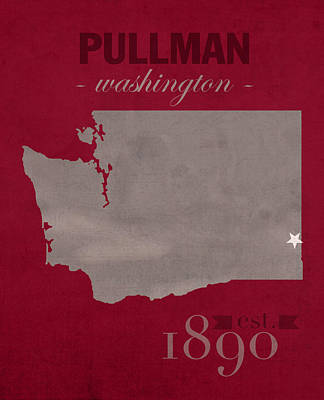 Cougar Mixed Media - Washington State University Cougars Pullman College Town State Map Poster Series No 123 by Design Turnpike