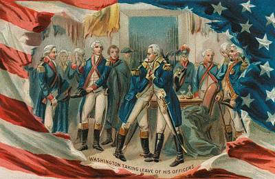 Blue And Red Painting - Washington Taking Leave Of His Officers by Anonymous
