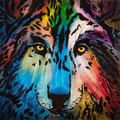 Wolf Face Painting - Watcher by Dede Koll