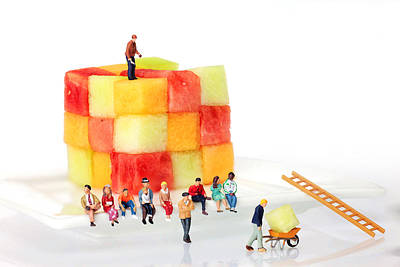 Watching Fruit Construction Little People On Food Print by Paul Ge