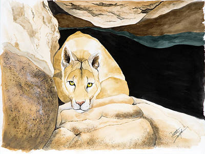 Mountain Lion Painting - Watching by Joette Snyder