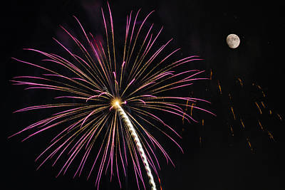 Watching Pink And Gold Explosion - Fireworks And Moon I  Print by Penny Lisowski