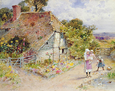 Country Lanes Painting - Watching The Ducks by William Stephen Coleman