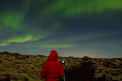 Watching The Northern Lights Print by Andres Leon