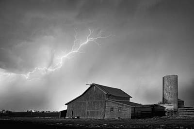 Country Photograph - Watching The Storm From The Farm Bw by James BO  Insogna