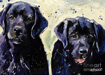 Black Labrador Puppies Painting - Water Boys by Molly Poole