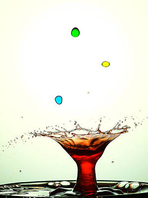 Water Droplets Collision Liquid Art 12 Print by Paul Ge