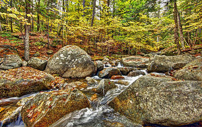 Water Fall In New Hampshire Print by James Steele