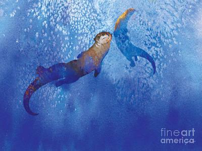 Otter Digital Art - Water For Otters by Tracy Herrmann