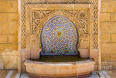 Water Fountain Mausoleum Of Mohammed V Opposite Hassan Tower Rabat Morocco  Print by Ralph A  Ledergerber-Photography