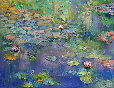 Waterlilies Painting - Water Garden by Michael Creese