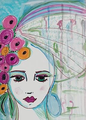 Collage Painting - Water Girl by Rosalina Bojadschijew