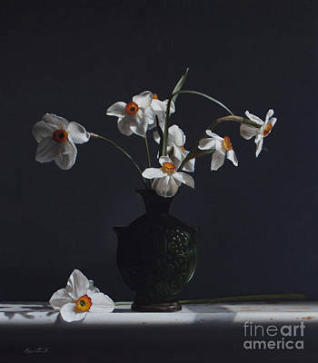 Water Jug Painting - Water Jug With Narcissus   by Larry Preston
