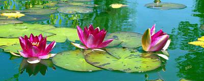 Vitality Digital Art - Water Lilies by Ben and Raisa Gertsberg