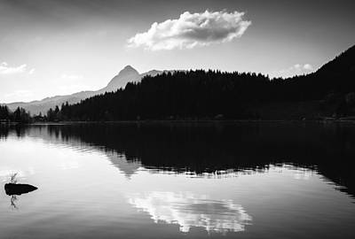 Water Reflection Black And White Print by Matthias Hauser