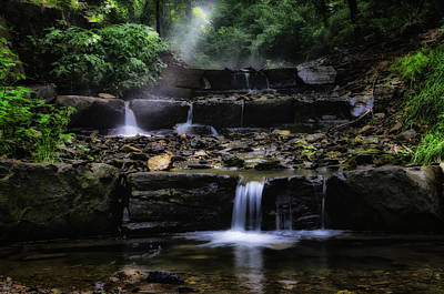 Wissahickon Creek Photograph - Water Steps In Fairmount Park by Bill Cannon