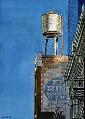 Water Tower Painting - Water Tower At Dusk by Tom Hedderich