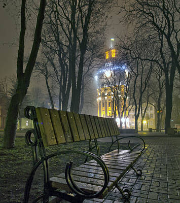 Water Tower At Night 3 Print by Zoriy Fine