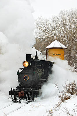 Train Photograph - Water Tower Behind The Steam by Ken Smith