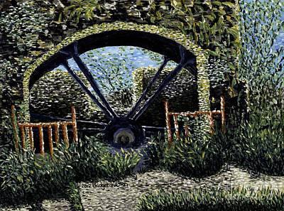 Landscape Painting - Water Wheel by Bridget Watson