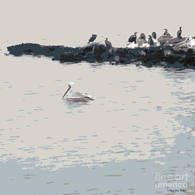 Loon Digital Art - Waterbirds3 by Megan Dirsa-DuBois