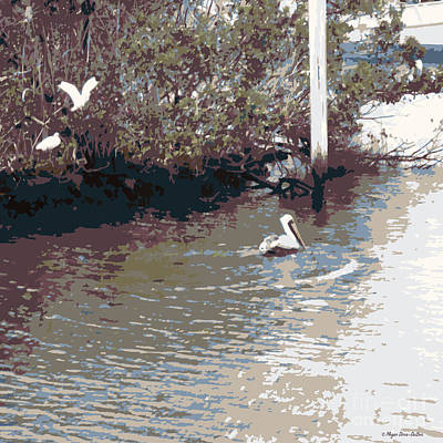 Loon Digital Art - Waterbirds6 by Megan Dirsa-DuBois
