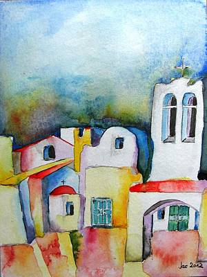 Painting - Watercolor ... Meets Greek Architecture by Jacqueline Schreiber