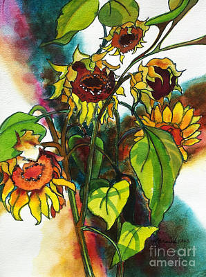 Wild Flowers Mixed Media - Sunflowers On The Rise by Kathy Braud