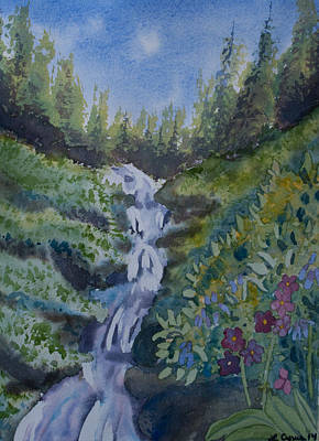 Watercolor - Colorado Mountain Stream Original by Cascade Colors