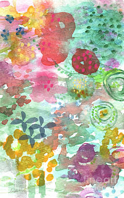 Watercolor Garden Blooms Print by Linda Woods