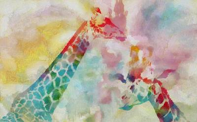 Giraffe Mixed Media - Watercolor Giraffes by Dan Sproul