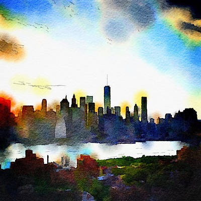 New York City Skyline Painting - Watercolor Manhattan by Natasha Marco