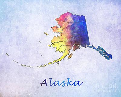 Watercolor Digital Art - Watercolor Map Of Alaska      United States by Justyna JBJart