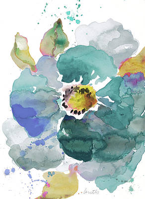 Blue Poppies Painting - Watercolor Modern Blue Poppy by Lanie Loreth