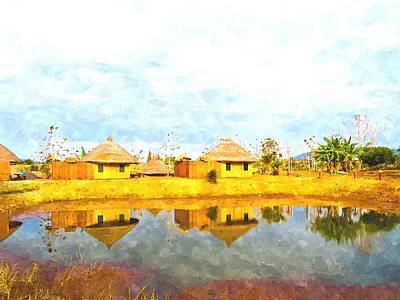 Bamboo House Painting - watercolor of bamboo cottages and and thier reflections in pond in Nakorn Ratchasima in Thailand by Ammar Mas-oo-di