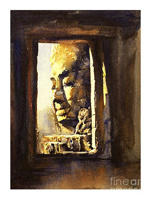 Shrine Painting - Watercolor Of Cambodian Temple by Ryan Fox