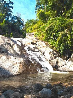 Pai Painting - Watercolor Of Waterfall In Pai In Mae Hong Son In Thailand by Ammar Mas-oo-di