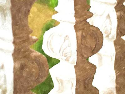 Bannister Painting - Watercolor Of White Banister Plaster by Ammar Mas-oo-di