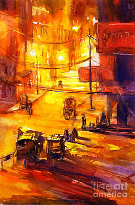 Watercolor Painting Of Kathmandu Street- Nepal Print by Ryan Fox