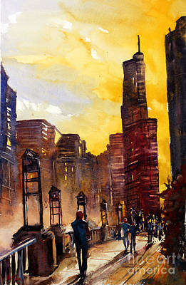 Watercolor Painting Of Skyscrapers Of Downtown Chicagoill Print by Ryan Fox