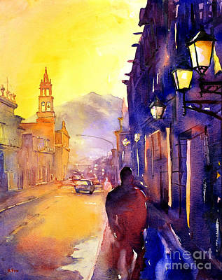 Watercolor Painting Of Street And Church Morelia Mexico Print by Ryan Fox