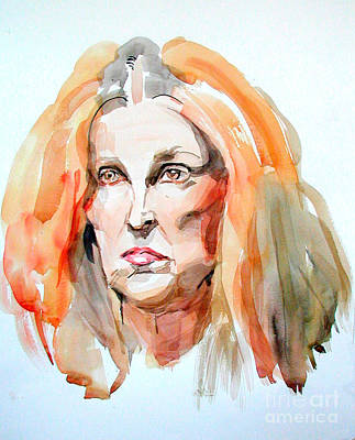 Portrait Painting - Watercolor Portrait Of A Mad Redhead by Greta Corens