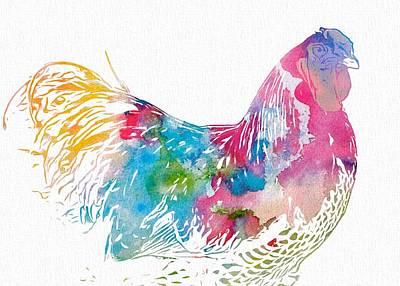Rooster Digital Art - Watercolor Rooster by Dan Sproul