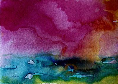 Wet Into Wet Watercolor Painting - Watercolor Sea Expression 2  4-24-12 Julianne Felton by Julianne Felton