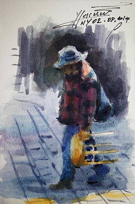 Hat Drawing - Watercolor Sketch by Ylli Haruni
