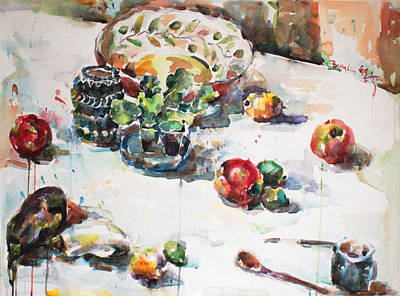 Loose Style Painting - Watercolor Still Life In April by Becky Kim
