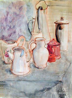 Old Objects Painting - Watercolor Still Life With Red Can by Greta Corens