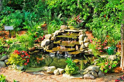 Goldfish Digital Art - Garden Waterfall And Goldfish Pond by Ginger Wakem