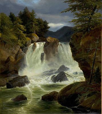 Johann Hermann Carmiencke Painting - Waterfall At Stora Mollan Sweden by Johann Hermann Carmiencke