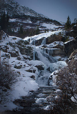 Waterfall Frozen In Time Print by Michael Bauer